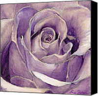 Fine Art - Still Lifes Canvas Prints - Purple Rose Canvas Print by Enzie Shahmiri