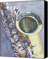 Saxaphone Painting Canvas Prints - Purple Sax Canvas Print by Jenny Armitage
