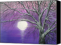 Snowy Night Painting Canvas Prints - Purple snow Canvas Print by Irina Astley