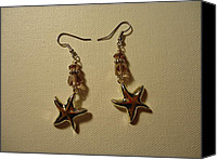 Unique Jewelry Jewelry Canvas Prints - Purple Starfish Earrings Canvas Print by Jenna Green
