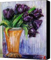 Vase Sculpture Canvas Prints - Purple tulips in vase Canvas Print by Raya Finkelson