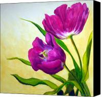 Purple Floral Canvas Prints - Purple Tulips Canvas Print by Scott Gordon