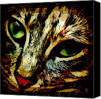 Animals Digital Art Canvas Prints - Purr-fect Love Canvas Print by David G Paul
