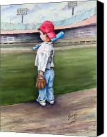 Baseball Painting Canvas Prints - Put Me In Coach  Canvas Print by Sam Sidders