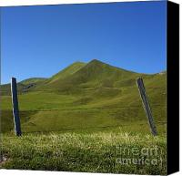 Barbed Wire Fences Canvas Prints - Puy de Barbier and Puy de lAngle. Auvergne. France Canvas Print by Bernard Jaubert