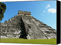 Mexico Canvas Prints - Pyramid Of Kukulcan Canvas Print by Cute Kitten Images