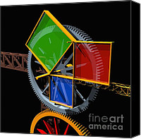 Brass Digital Art Canvas Prints - Pythagorean Machine Canvas Print by Russell Kightley