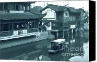 Junk Canvas Prints - Qibao Ancient Town - A peek into the past of Shanghai Canvas Print by Christine Till
