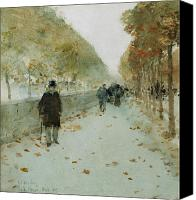 Signed Painting Canvas Prints - Quai du Louvre Canvas Print by Childe Hassam