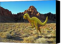 Reptiles Mixed Media Canvas Prints - Quantasaurus Running in Desert Canvas Print by Frank Wilson
