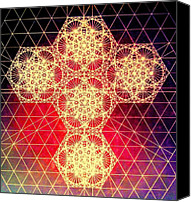 Christian Sacred Canvas Prints - Quantum Cross Hand Drawn Canvas Print by Jason Padgett
