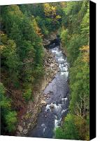 Vermont Autumn Foliage Canvas Prints - Quechee Gorge Early Autumn Canvas Print by John Burk