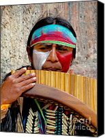 Colonial Man Photo Canvas Prints - Quechuan Pan Flute Player Canvas Print by Al Bourassa