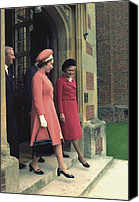 First Ladies Canvas Prints - Queen Elizabeth And First Lady Pat Canvas Print by Everett