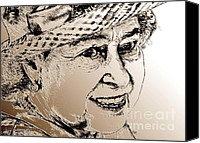 Famous Mixed Media Canvas Prints - Queen Elizabeth II in 2012 Canvas Print by J McCombie