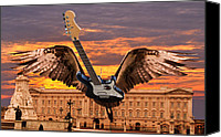 Buckingham Palace Digital Art Canvas Prints - Queen Canvas Print by Eric Kempson