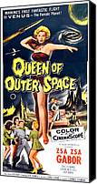 1950s Poster Art Canvas Prints - Queen Of Outer Space, Center Zsa Zsa Canvas Print by Everett