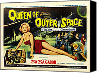 1950s Poster Art Canvas Prints - Queen Of Outer Space, Zsa Zsa Gabor Canvas Print by Everett