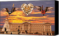 Buckingham Palace Digital Art Canvas Prints - Queen Rocks Canvas Print by Eric Kempson