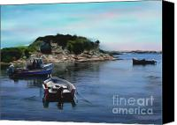 Harbor Art Painting Canvas Prints - Quiet Inlet Canvas Print by Earl Jackson