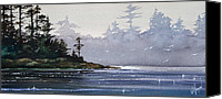 Watercolor Landscape Canvas Prints - Quiet Shore Canvas Print by James Williamson