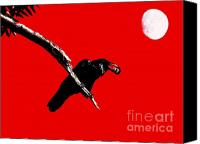 Ravens Canvas Prints - Quoth The Raven Nevermore . Red Canvas Print by Wingsdomain Art and Photography