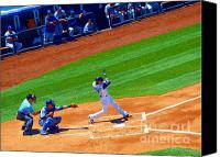 Batter Digital Art Canvas Prints - R U Ready for Some Baseball - A Sports Paintograph Canvas Print by Christine S Zipps