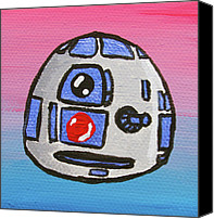 Caricature Painting Canvas Prints - R2-d2 Canvas Print by Jera Sky