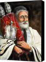 Rabbi Canvas Prints - Rabbi with Torah Canvas Print by Edward Farber