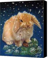 Rabbit Pastels Canvas Prints - Rabbit Canvas Print by Irina Miroshnikova