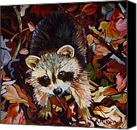 Raccoon Drawings Canvas Prints - Raccoon Baby Canvas Print by Kelly McNeil