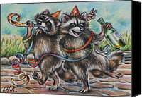 Raccoon Drawings Canvas Prints - Raccoon buddies-after party Canvas Print by Christine Karron