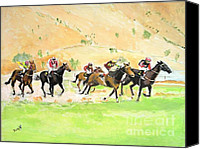 Horses Canvas Prints - Race Against TIme Canvas Print by Judy Kay