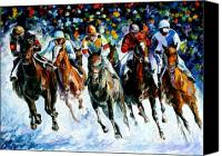 Belmont Canvas Prints - Race on the snow Canvas Print by Leonid Afremov