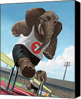 Martin Davey Digital Art Canvas Prints - Racing Running Elephants In Athletic Stadium Canvas Print by Martin Davey