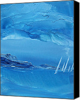 Wind Surfing Art Painting Canvas Prints - Racing Sailboats Canvas Print by Danita Cole