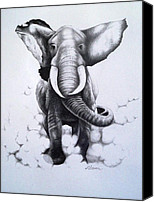 Elephant Running Canvas Prints - Raging Elephant Canvas Print by A Karron