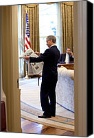 Bswh052011 Canvas Prints - Rahm Emanuel Looks At A Newspaper Canvas Print by Everett