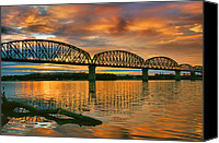Indiana Canvas Prints - Railroad Bridge At Sunrise Canvas Print by Steven Ainsworth