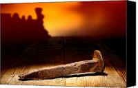 Ancient Photo Canvas Prints - Railroad Spike Canvas Print by Olivier Le Queinec