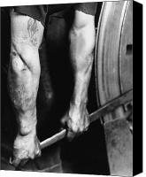 Twenties Photo Canvas Prints - Railroad Worker Tightening Wheel Canvas Print by LW Hine