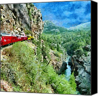 Cliff Canvas Prints - Rails Above the River Canvas Print by Jeff Kolker