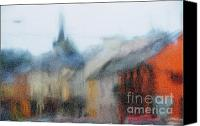 With Photo Canvas Prints - Rain. Carrick on Shannon. Impressionism Canvas Print by Jenny Rainbow