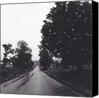 Rain Canvas Prints - #rain #dreary #somber #driving #travel Canvas Print by Amber Flowers