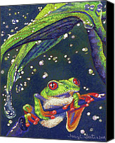Wet Pastels Canvas Prints - Rain Drops - Tree Frog Canvas Print by Tracy L Teeter