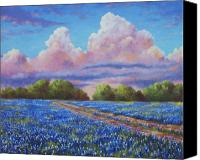 Blue Flowers Painting Canvas Prints - Rain For The Bluebonnets Canvas Print by David G Paul