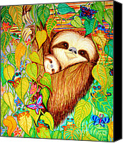 Flowers Drawings Canvas Prints - Rain Forest Survival Mother and Baby Three Toed Sloth Canvas Print by Nick Gustafson