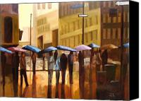 Umbrellas Canvas Prints - Rain in Manhattan number seventeen Canvas Print by Tate Hamilton