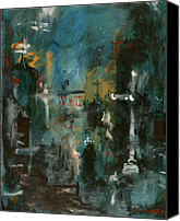 Loss Painting Canvas Prints - Rain in the Night City Canvas Print by David Finley