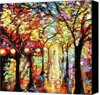 Beata Canvas Prints - Rain Night Oil Painting - Lights in the Rain Canvas Print by Beata Sasik